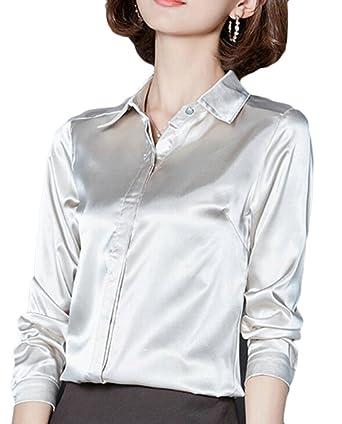 3df996f3325610 CRYYU Women Silk Button Down Shirt Long Sleeve Lapel Collar Blouse Apricot  US XS