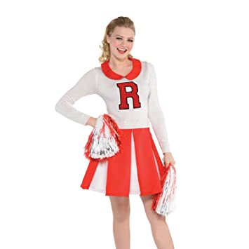 ba314f2e00da Ladies College Cheerleader High School 50s Retro Red and White Rydell Fancy  Dress Costume Outfit: Amazon.co.uk: Toys & Games