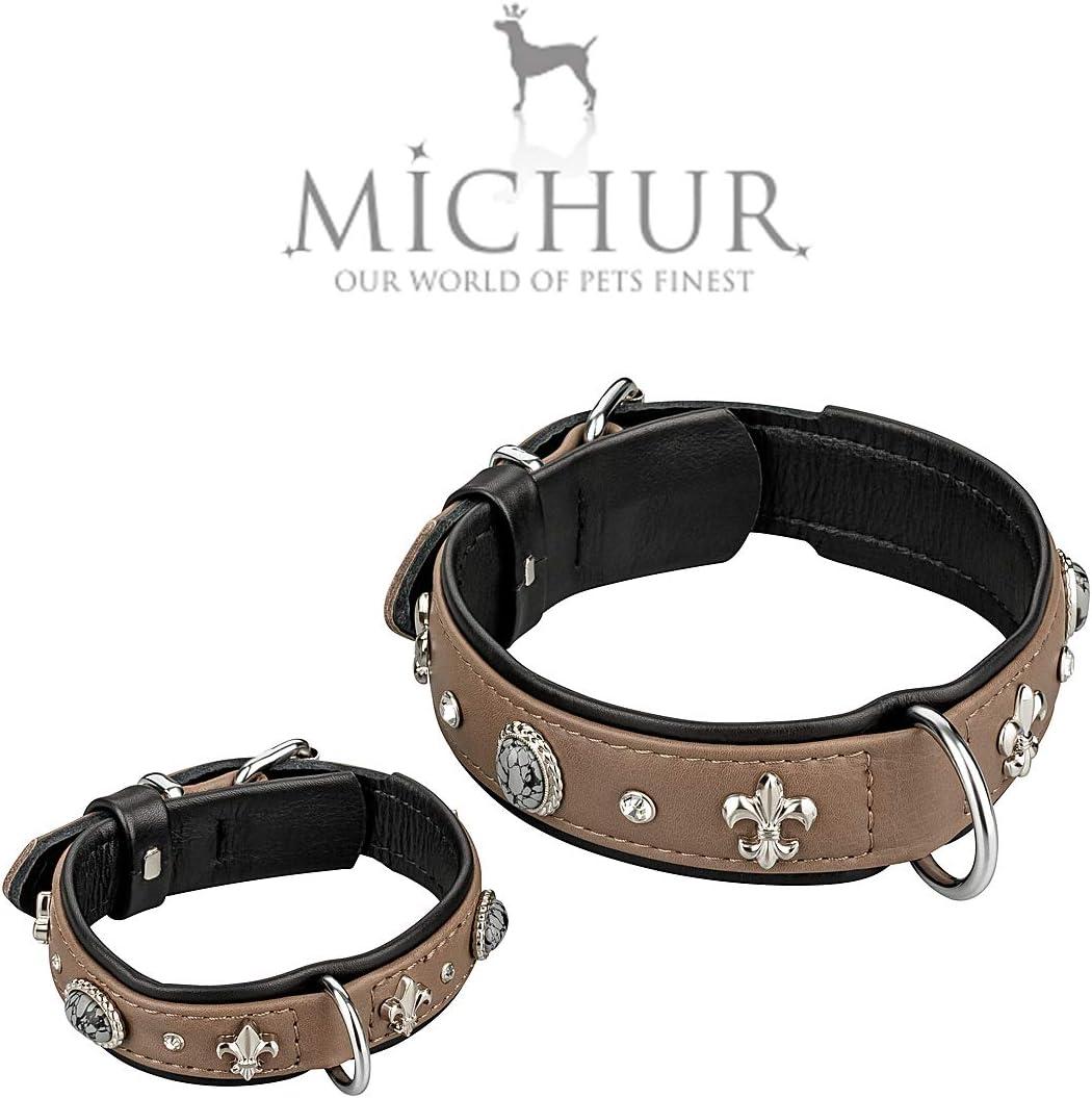MICHUR Rodrigo Hundehalsband Leder Halsband mit Lilien,Strasssteinen und grau marmorierten Steinen in verschiedenen Gr/ö/ßen erh/ältlich Leder Taupe,Grau-schwarz Lederhalsband Hund
