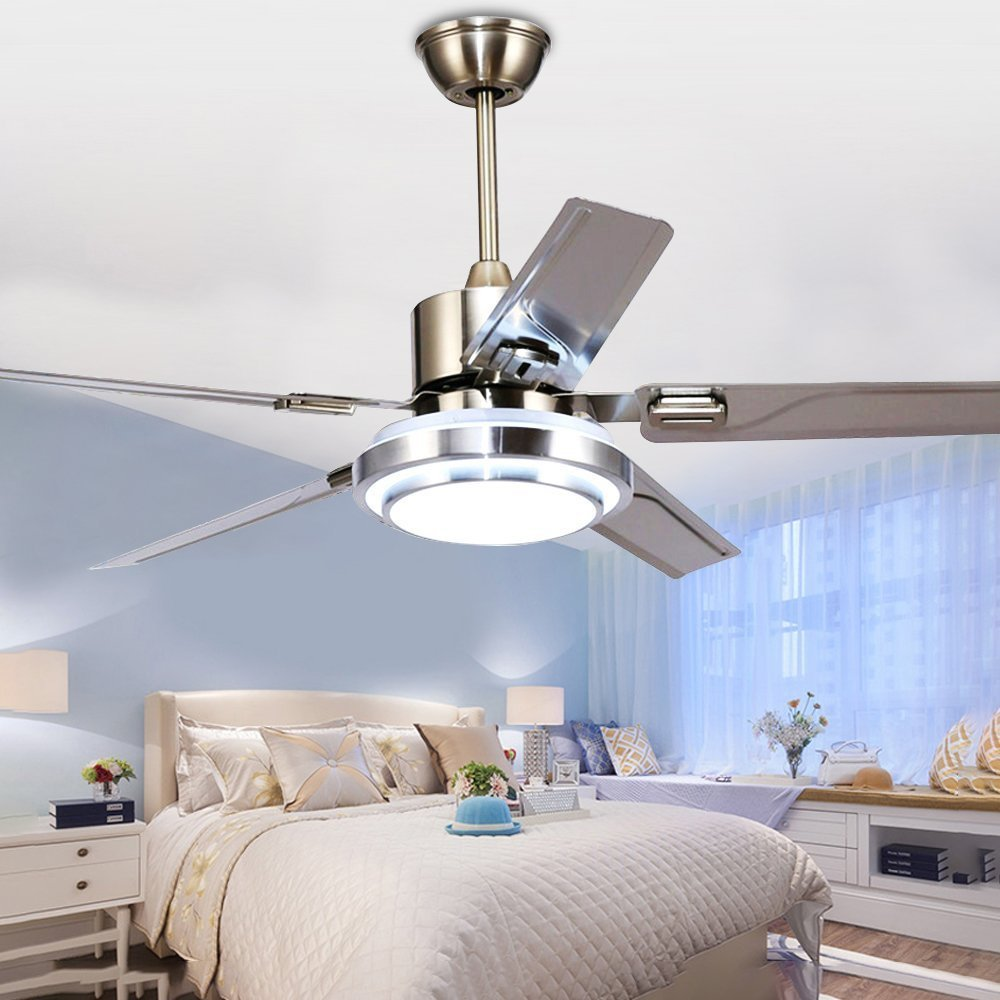 RainierLight Modern Ceiling Fan 5 Stainless Steel Blades Remote Control LED 3 LED Changing Light (White/ Warm/ Yellow) for Indoor Mute Energy Saving Electric Fan 48 inch