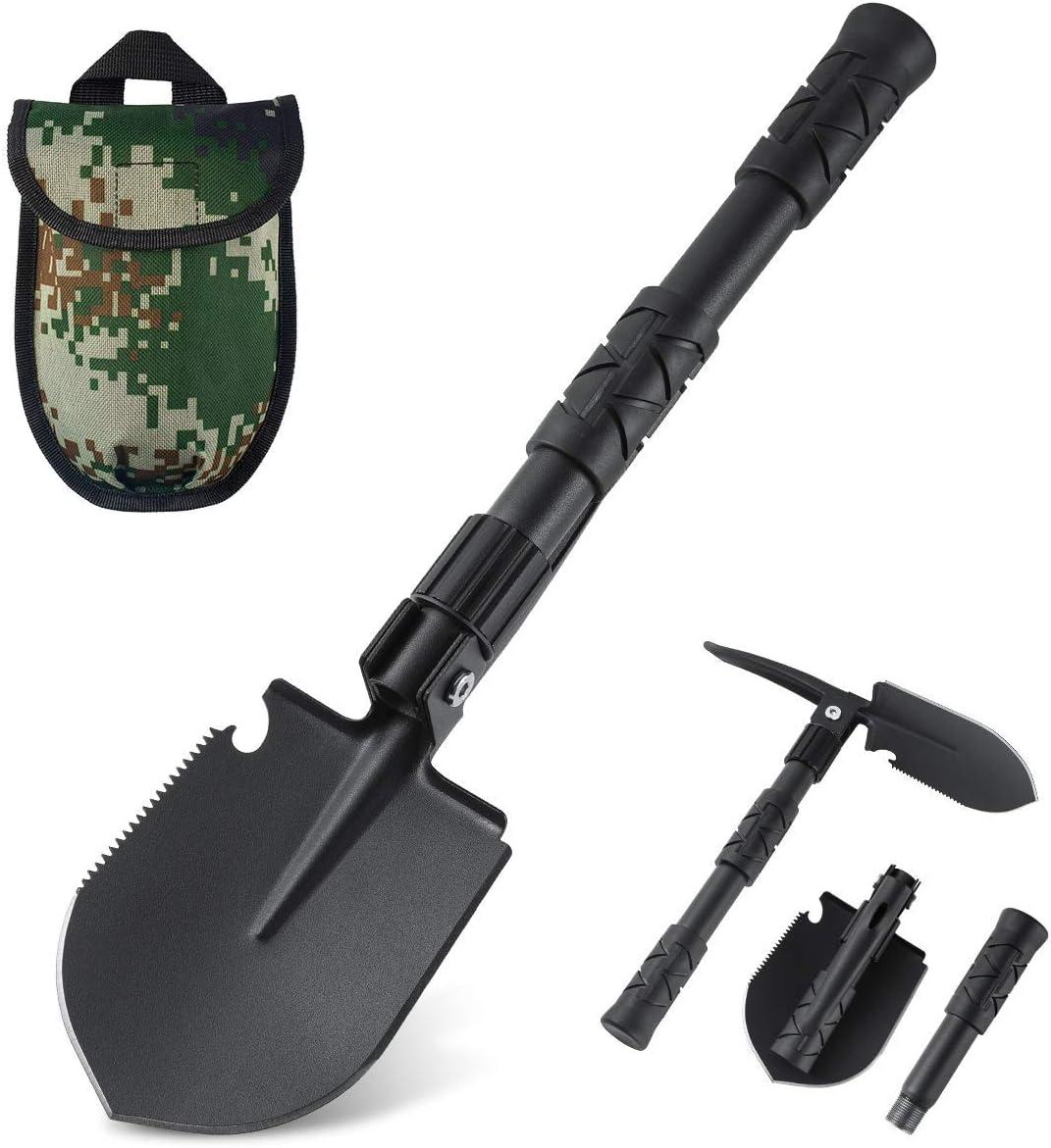 BOYISEN OKOOLCAMP Folding Shovel Tri-fold Camping Shovel Survival Snow Shovel Heavy Duty Alloy Steel 18.1 inch w/Saw Edge for Off Road, Camping, Gardening, Backpacking, Car Emergency