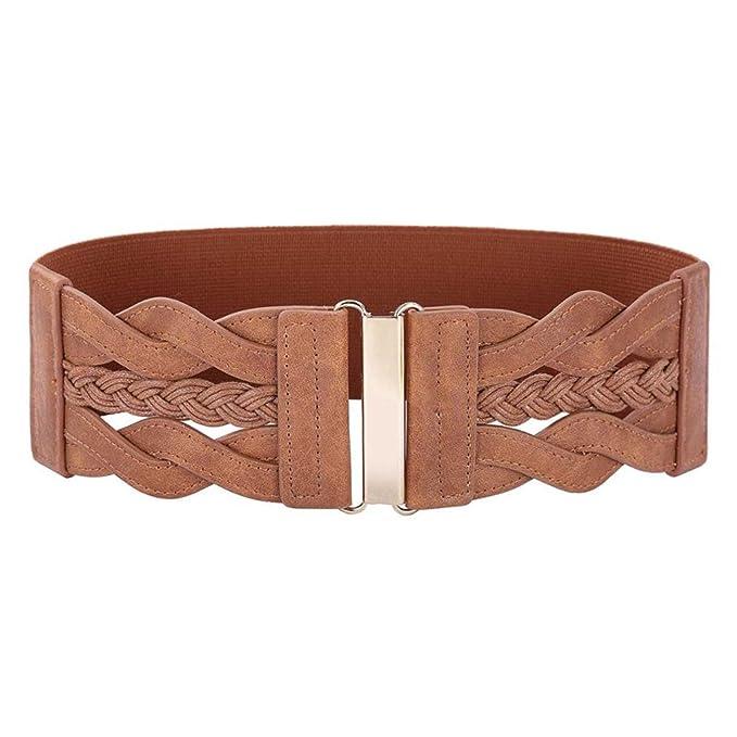Cinturones anchos para mujer Señoras trenzado cuero poliuretano moda  Cinturón elástico la cintura Cinturón para mujer color marrón  Amazon.es   Ropa y ... 6ab22ea0989a