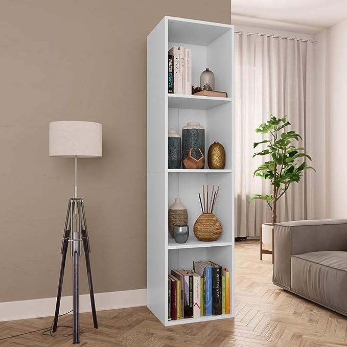 vidaXL Biblioth/èque Meuble TV Armoire Basse Meuble de Rangement avec 4 Compartiments Stockage Etag/ère /à Livres Salon Blanc Agglom/ér/é