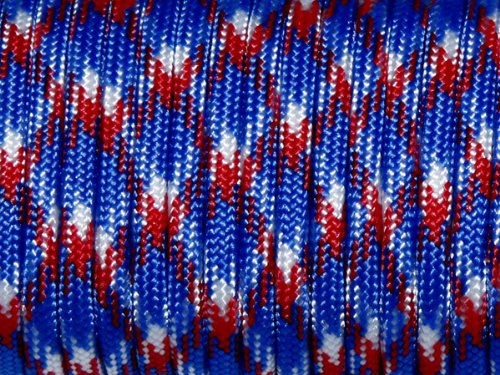 100ft 550 Paracord Parachute Cord Lanyard Mil Spec Type III 7 Strand Core (Red+Blue+White Camo)