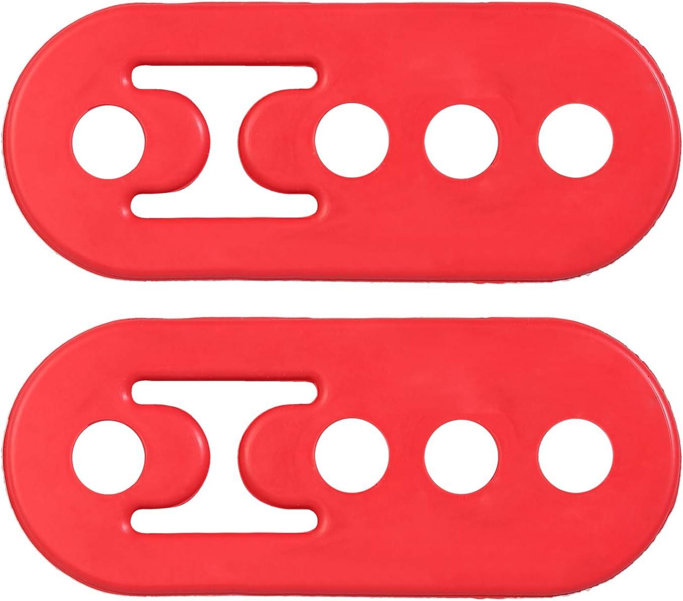 eSynic 2PCS Universal Red Heavy Duty Rubber Exhaust Mount Brackets Hangers 12mm 4Holes