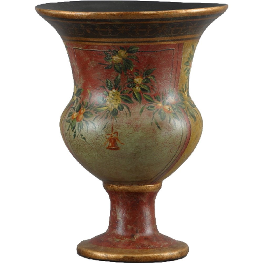 Home decor. Gold and Red Floral Vase. Dimension: 9 x 9 x 12. Pattern: Veranda Wreath.