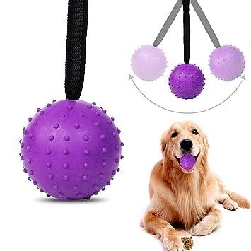 Bola de cuerda para perro, bolas de goma natural huecas para limpieza de dientes y