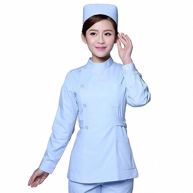 Xuanku El Servicio De Enfermeras Cuerpo Vestido De Manga Larga De Invierno Odontología Cosmética Farmacia Médico Ropa De Trabajo, XXXL, Blue Coat, ...