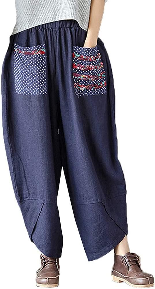 Pantalones de Harén Mujer Sabana de Algodon Retro Holgado para ...