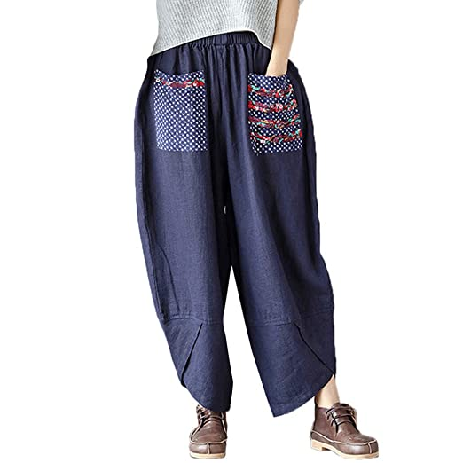 ceef5f9753 Suma-ma Women Retro Patchwork Wide Leg Harem Pants Cotton Linen Baggy Long  Trousers Casual Pants at Amazon Women's Clothing store: