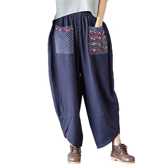 ee89415da0 Pantaloni Larghi delle Donne Harem Pants Pantaloni di Lino in Cotone da  Donna Pantaloni Larghi