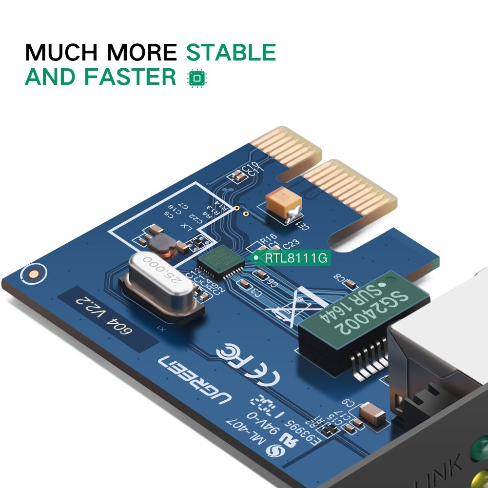 UGREEN Gigabit Ethernet PCI Express PCI-E Network Controller Card 10/100/1000Mbps RJ45 LAN Adapter Converter for Desktop PC