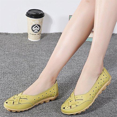 Z-joyee Womens Aushöhlen Casual Leder Fahren Flache Müßiggänger Schuhe Gelbgrün