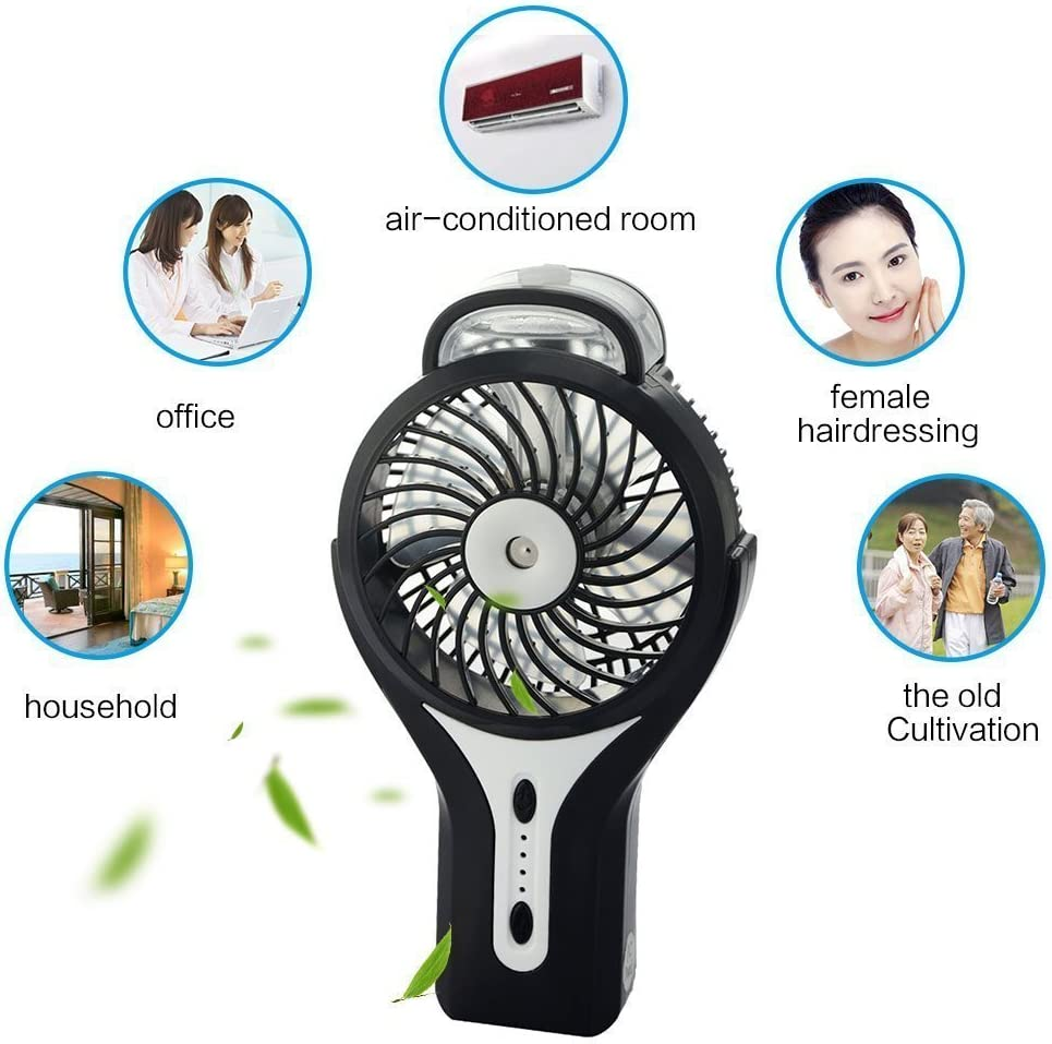 Hey Song Mini Handheld USB Misting Fan with Personal Cooling Mist Humidifier Rechargeable Portable Mini Misting Cooling Fan for Home Office and Travel Pink