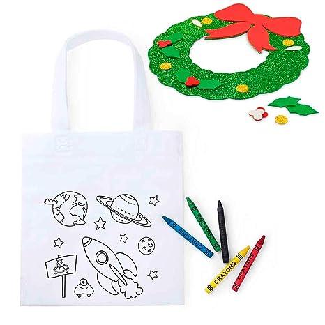 Lote 30 Bolsas Infantiles para Colorear Espacio más 1 Guirnalda Infantil en Goma Eva, para Que el niño la decore y la utilice para adornar la casa en ...