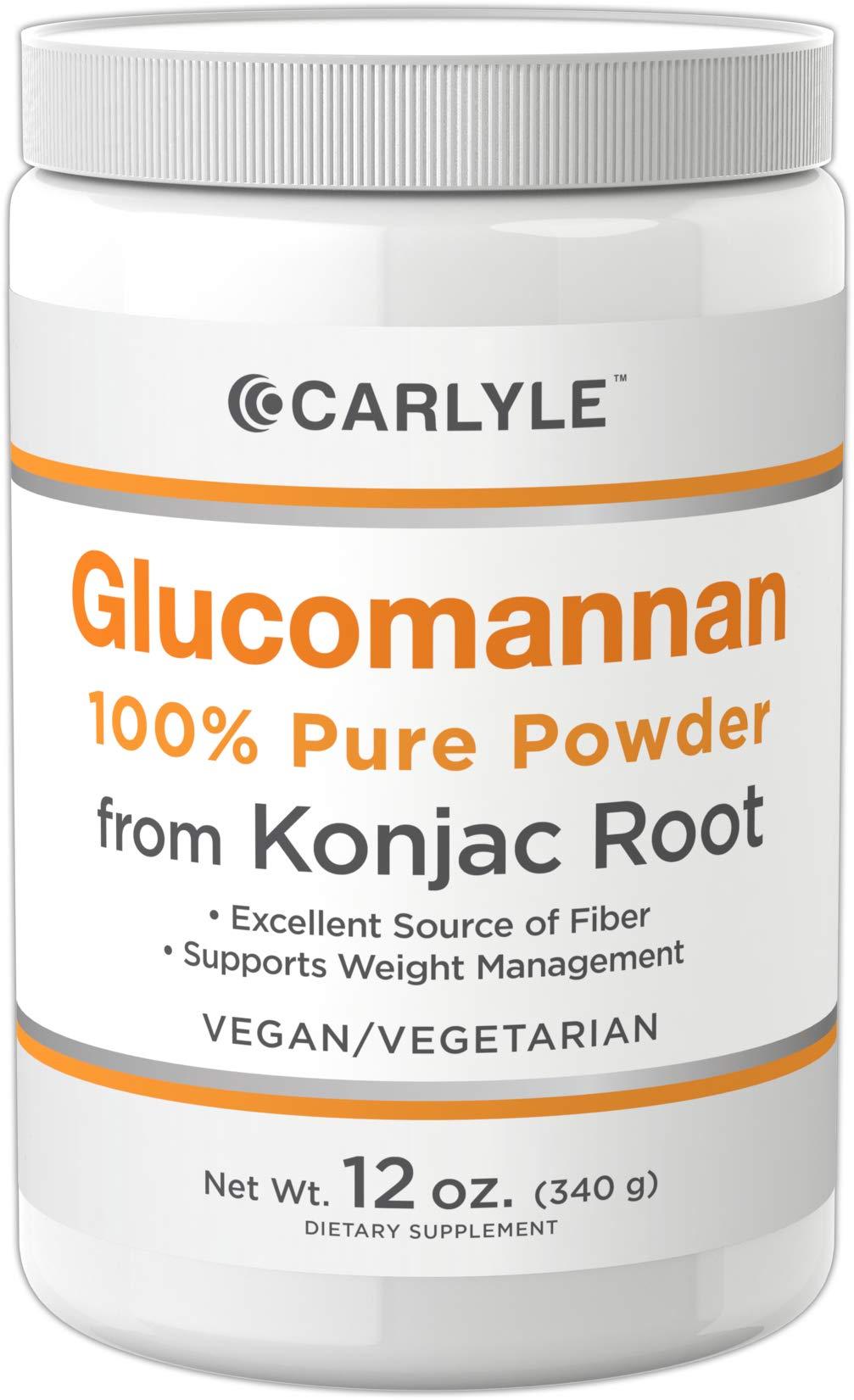Glucomannan Powder | 12 oz | Vegan & Vegetarian | Non-GMO, Gluten Free | 100% Pure Konjac Powder Supplement | by Carlyle by Carlyle