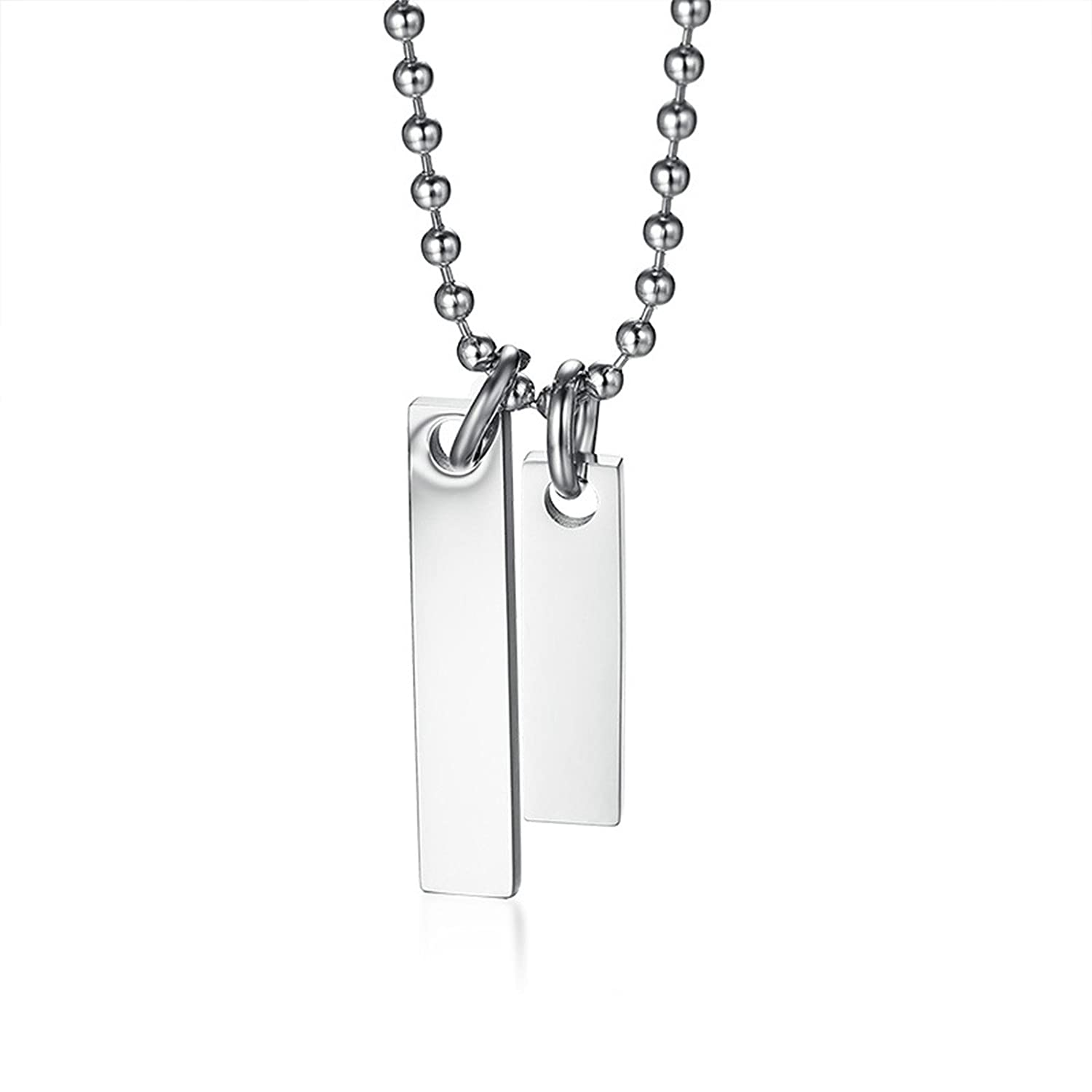 Amazon.com  Stainless Steel Pendant Necklaces for Women Double Simple Tag Silver  Necklace  Jewelry 44370a383