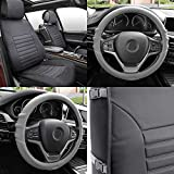FH GROUP FH-PU206102 Multifunctional Quilted Leather Seat Cushions Pair Set + FH3003 Silicone Steering Wheel Cover w. Grip Marks , Gray Color- Fit Most Car, Truck, Suv, or Van