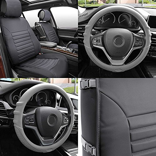 FH GROUP FH-PU206102 Multifunctional Quilted Leather Seat Cushions Pair Set + FH3003 Silicone Steering Wheel Cover w. Grip Marks , Gray Color- Fit Most Car, Truck, Suv, or Van by FH Group