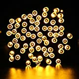 Deckey LED String Light 200 LED Outdoor Solar Powered Waterproof 72FT Starry Fairy Lighting Christmas Decoration Flashing Lights for Xmas Tree Patio Gardens House Yard (Warm White)