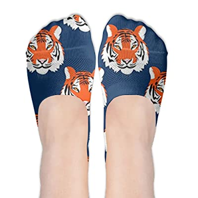 DISXHSH Thin Hidden No Show Liner Jungle Tigers In Auburn Colors Athletic Running Socks Non Slip Flat Boat Line
