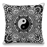 Moyun Black & White Mandala Series Decorative Bohemian Cushion Covers Hippie Throw Pillowcases Psychedelic Intricate Floral Indian Sofa Bed Decor 18