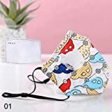 Julymoda 2 Pack Kids PM2.5 Cotton Mouth Mask with Breath Valve Filter Papers Mask Cloth Activated Carbon Filter 2Pc Filter Paper