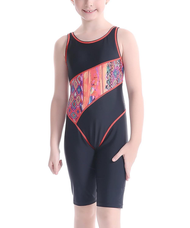 JerrisApparel Children Girls One Piece Splice Athletic Boyleg Racerback Swimsuit