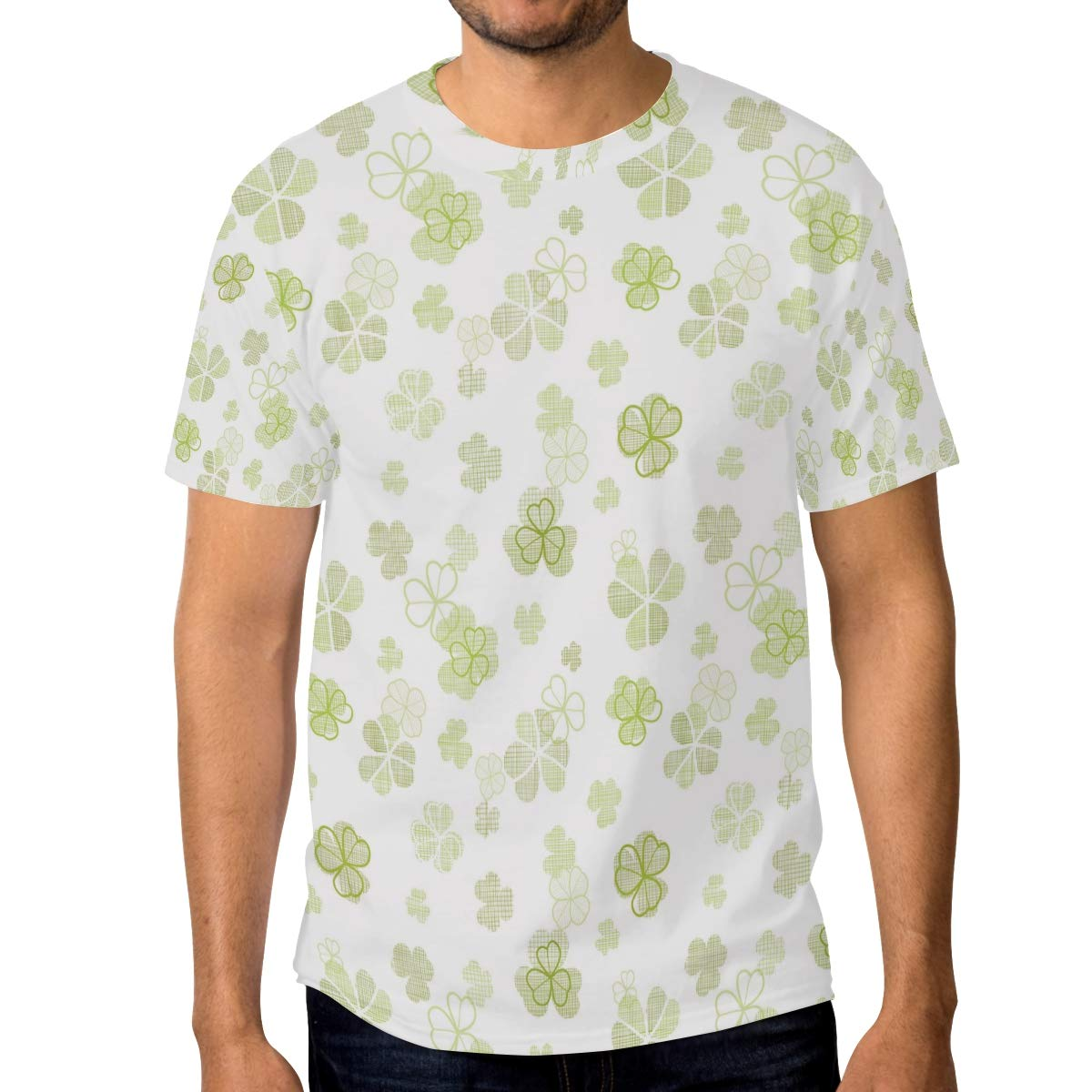 St Patricks Day Decoration Clover Flower Mens T Shirts Graphic Funny Body Print Short T-Shirt Unisex Pullover Blouse