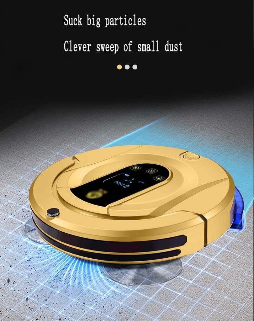 Aspirateur robotique 100 min d'autonomie et jusqu'à 150m² charge automatique idéal pour les poils d'animaux de compagnie, (Color : Pink) Gold
