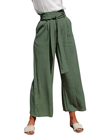 e7f09c70 BerryGo Women's Casual High Waist Wide Leg Cropped Pants with Pockets  Green-S