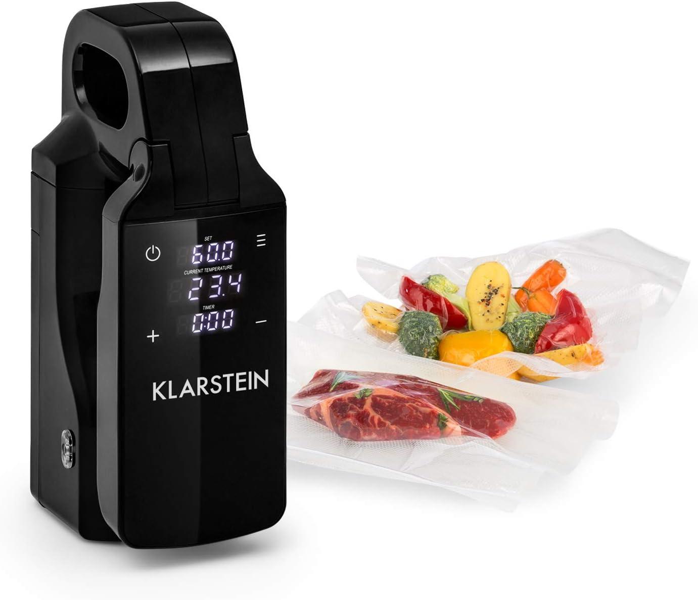 Klarstein Quickstick Free Sous Vide Stick Black Edition - Cocina al vacío, Bomba de cocción, Temperatura 0-95 °C, 800 W de potencia, Display LCD táctil, Safety First Technology, Seguridad IPX7, Negro