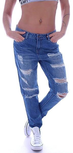 Style Station Damen Boyfriend Jeans Boyfriendcut Hose Baggy Haremshose Chino Blau XS 34 S 36 M 38 L 40 XL 42
