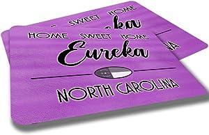 Eureka North Carolina Home Sweet Home Towns Cities Provinces Door Mat Pink Brown Design Rubber Grip Non Skid Backing Rug Indoor Entryway Door Rug Mats Pack of 2