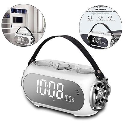 HEDDK Reloj Despertador Digital Inalámbrico Bluetooth Altavoz Móvil LED Espejo Reloj de Mesa Pantalla de Tiempo
