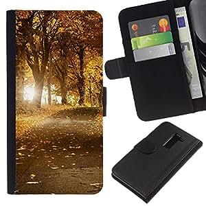 Ihec-Tech / Flip PU Cuero Cover Case para LG G2 D800 D802 D802TA D803 VS980 LS980 - Nature Beautiful Forrest Green 45