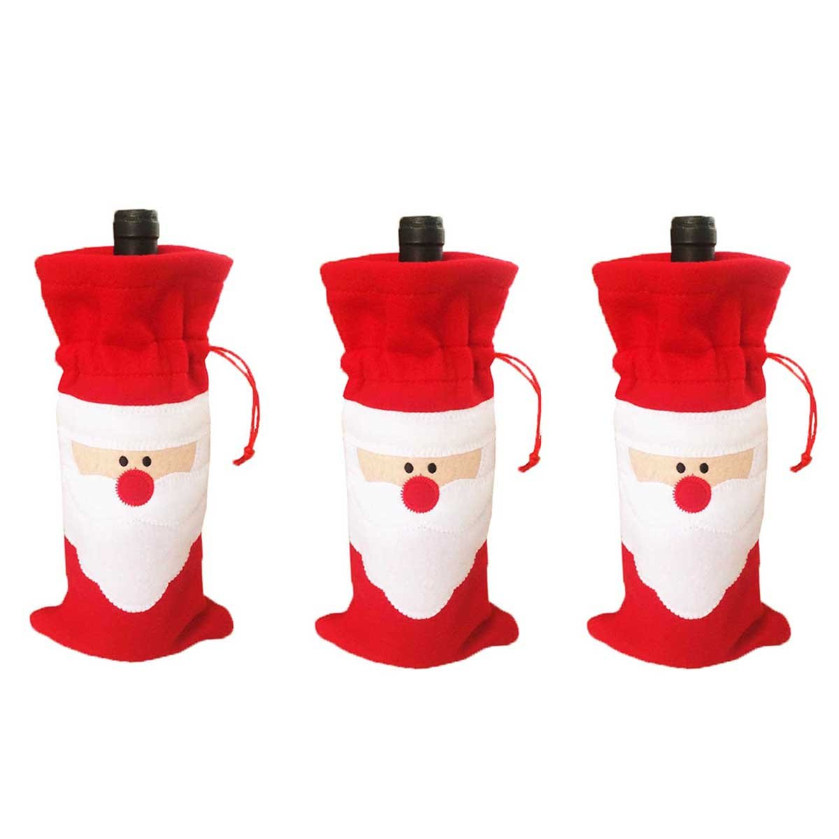 3 pcs Christmas Santa Claus Wine Bottle Decoration Bag Cover for Xmas Gift Dinner Party Table Decor