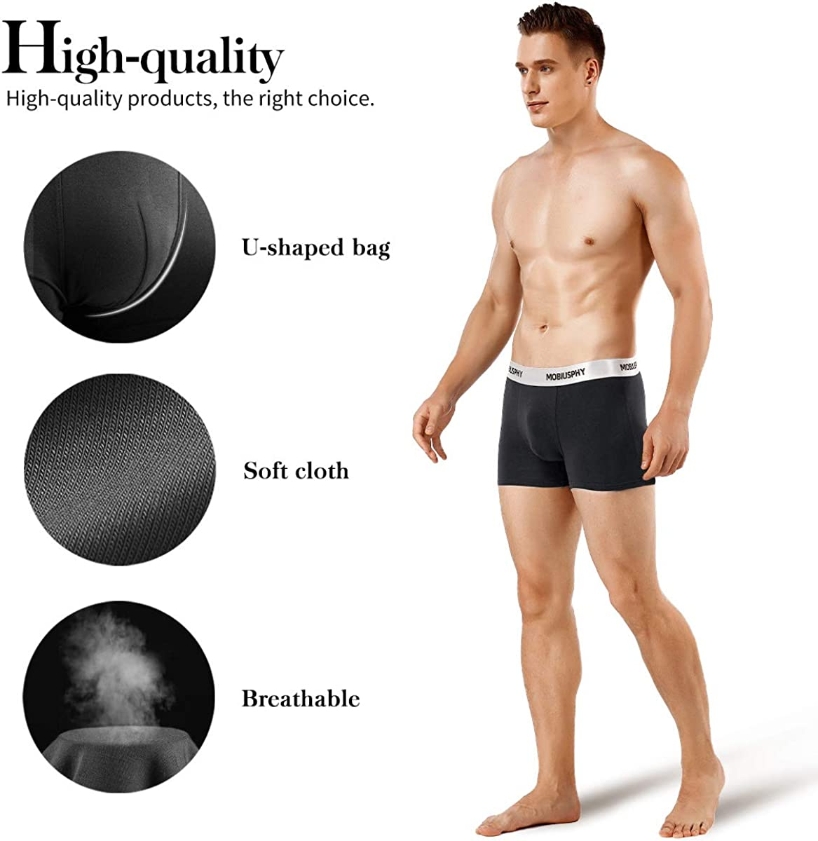 MOBIUSPHY Mens Boxer Shorts Cotton Underwear for Men Briefs Fitted Trunks Pack of 3 Black