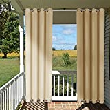 thermal shower curtain - Outdoor Drape and Curtain Pergola - NICETOWN Thermal Insulated Room Darkening Curtain Panel with Rust Proof Rings on Top and Bottom, Windproof and Mildew Resistant ( Single Panel, 52 x 84 Inch, Beige)