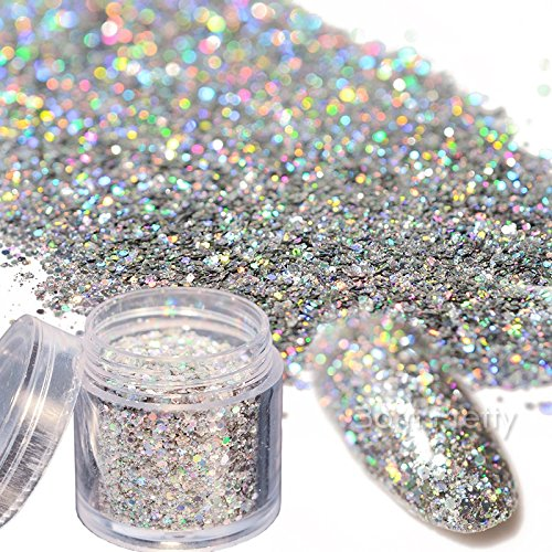 Born Pretty 10g Holo Laser Glitter Nail Sequins Shining Silver Hexagon Sparkle Glitter Flakes Powder Dust Tips Manicure Nail Art Decoration