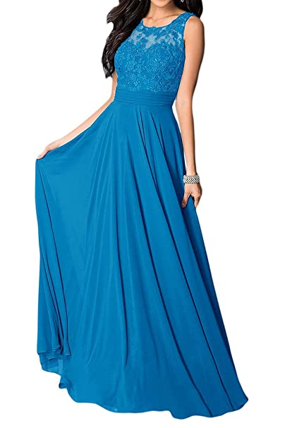 Vestido de novia Missdressy, vestido elegante, de gasa, cuello redondo, sin mangas
