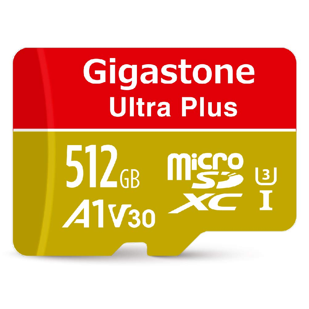 Gigastone 512GB Micro SD Card A1 V30 U3 C10 Class 10 Micro SDXC UHS-I Memory Card with MicroSD to SD Adapter High Speed 4K Ultra HD Video Camera Canon ...