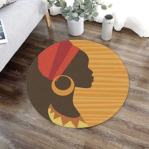 Afro Decor Non Slip Round Mat,Girl Profile Silhouette with Earrings Grace and Elegance Icon Image for Toilet Balcony Corridor,23.62