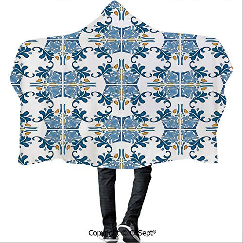 SCOCICI Polyester Hooded Blankets,Roman Tile Mosaic Design with Famous Artful Eastern Inspired Image,Warm Cozy Throw Blanket (59.05x78.74 inch),Blue Yellow