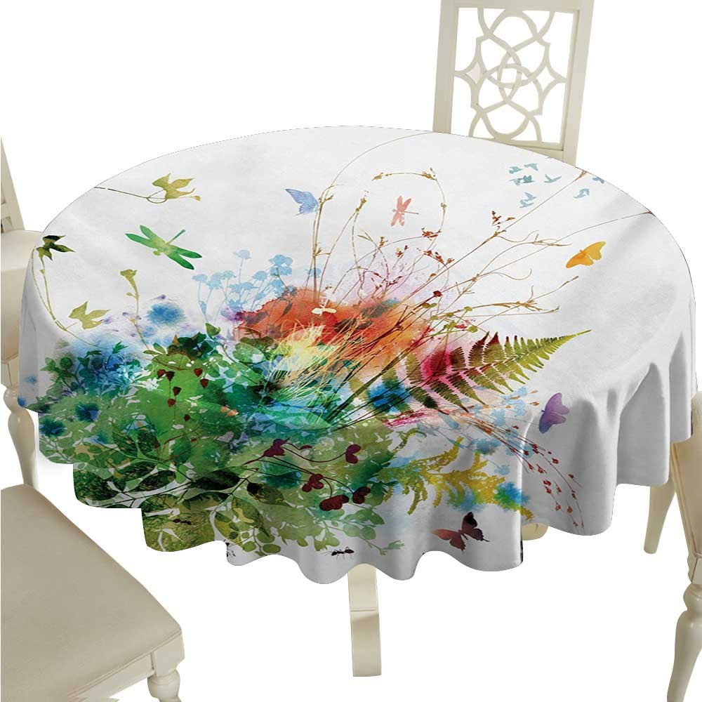cashewii 水彩 流出防止 布製テーブルクロス エキゾチックなフラワーアレンジメント ハワイの葉 プルメリア ハイビスカスとヤシの葉 ビュッフェテーブルに最適 D36 マルチカラー D54