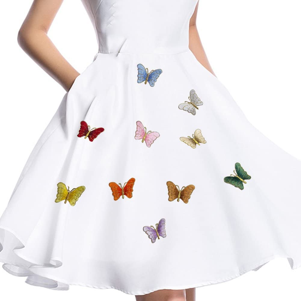 XUNHUI Colorful Mixed Butterfly Patches Iron On or Sew Fabric Sticker for Clothes Embroidered Appliques DIY Accessory 10 Pieces 1.5X1.2