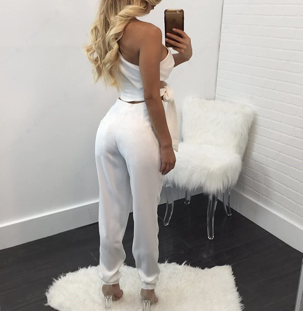 New Oblique Shoulder Straps Sleeveless Hips Jumpsuit Two Sets Womens Clothing