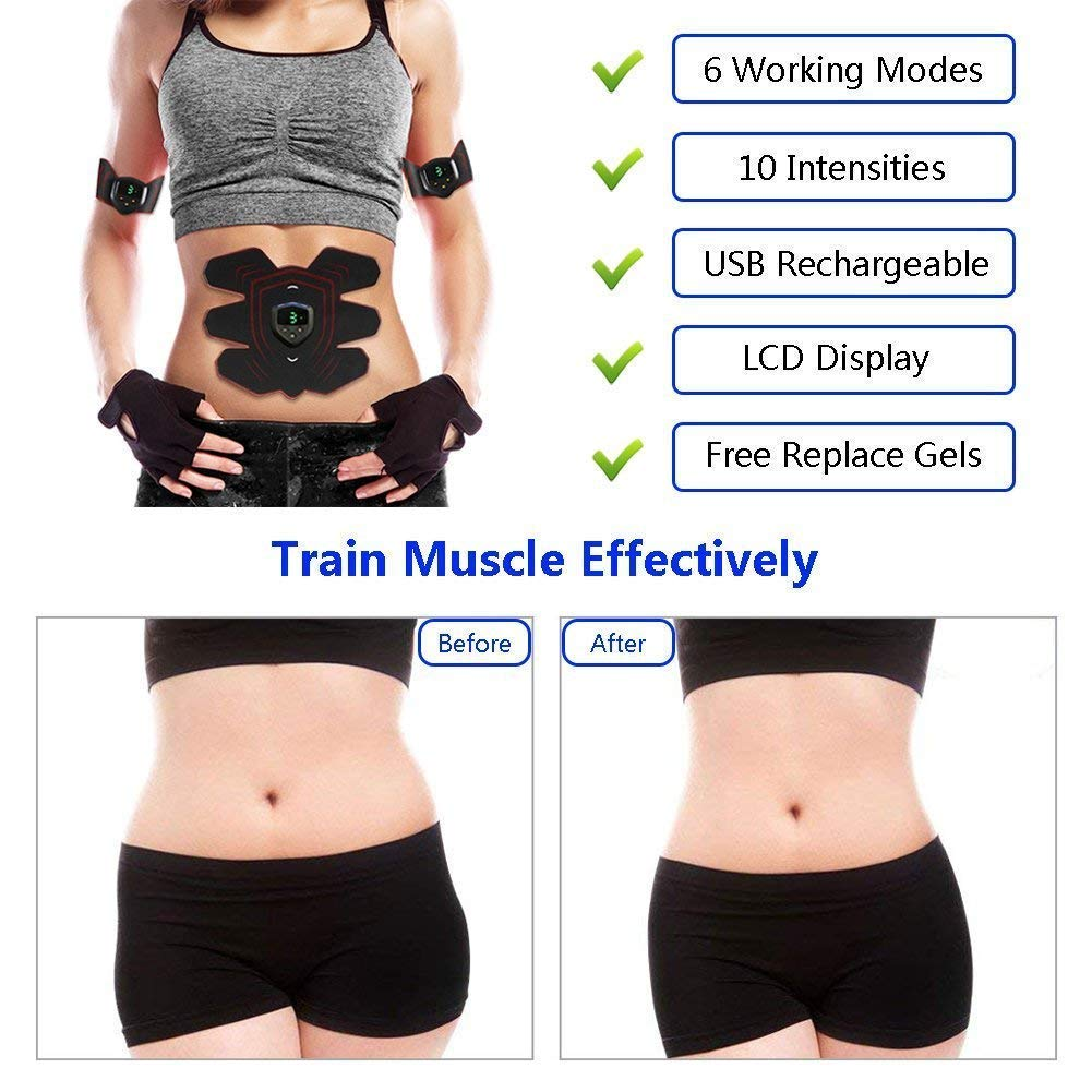 ABS Stimulator Muscle Toner Rechargeable, EMS Abdomen Muscle Trainer with 6 Modes 10 Levels, Muscle Toner Toning Belt for Men Women, Free 10pcs Gel Pads Included by Makoya (Image #3)