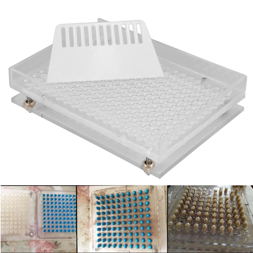 Acrylic Empty Capsule Plates Holder With Spreader, 187 Holes Vitamins Coffee Powder Manual Filling Capsules Manual Machine Tool (00#) by ZJchao (Image #2)
