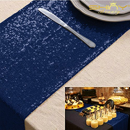 12''x72'' Navy Blue Sequin Table Runner Sparkly Metallic Sequin Runner for Wedding Party Dinner Reception, Event Bridalwedding Runner, Birthday Party, Dinner Party, Shower Ready to Ship!]()